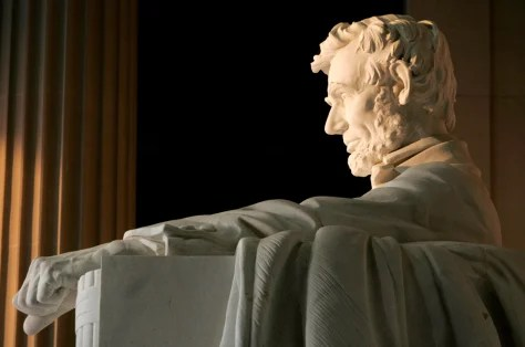 Lincoln Memorial statue, profile view