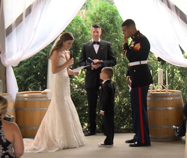 Watch Marines Son 4 Tearfully Hug His New Stepmom As She Reads Wedding Vows