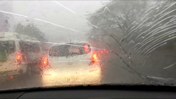 Freak Hailstorm Cracks Car Windshield - NBC News