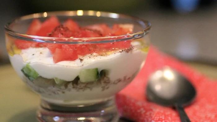 Savory yogurt parfait recipe