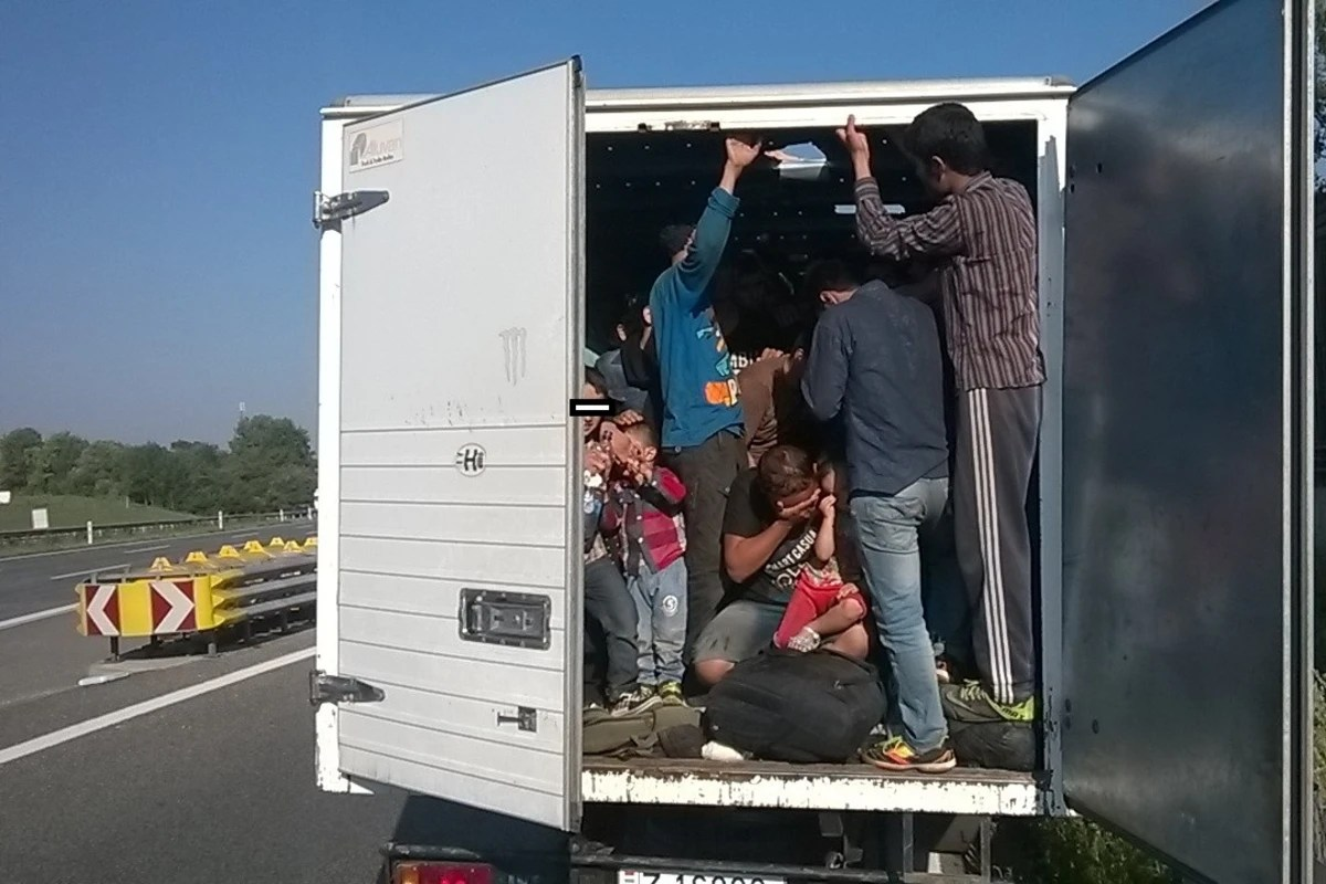 Image: Police said 86 migrants were found in the back of this truck.