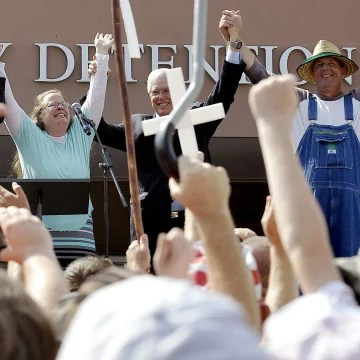 Image: File photo of Rowan County Clerk Kim Davis celebrating her release from the Carter County Detention center in Grayson Kentucky