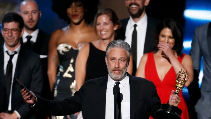 "Image: Jon Stewart accepts the award for Outstanding Variety Talk Series for Comedy Central's ""The Daily Show with Jon Stewart"" at the 67th Primetime Emmy Awards in Los Angeles"
