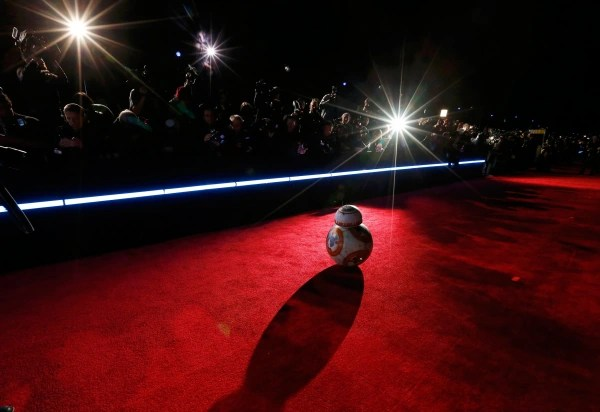 "Image: Droid BB-8 arrives at the world premiere of the film ""Star Wars: The Force Awakens"" in Hollywood"