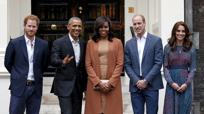 U.S. President Barack Obama and first lady Michelle Obama pose with Britain's Prince William, his wife Catherine, Duchess of Cambridge, and Prince Harry, upon arrival for dinner at Kensington Palace in London, Britain