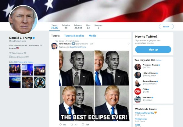 Trump tweets out meme of himself eclipsing Obama in ...