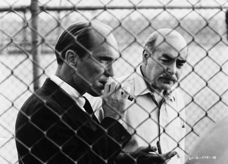 Robert Duvall and Michael V. Gazzo in The Godfather: Part II