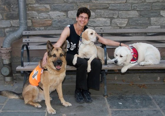 "Image: ""Hero Dogs of 9/11""; Dr. Cynthia Otto 10 years later with dogs."