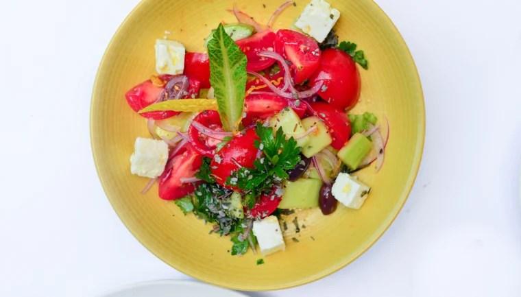 The Horiatiki Greek salad by chef Travis Swikard of Boulud Sud in NYC