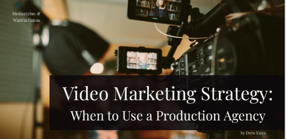 title card with photo of video production setup