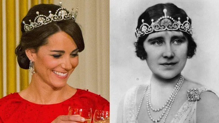 Kate, Duchess of Cambridge, and the Queen Mother in Lotus Flower tiaras