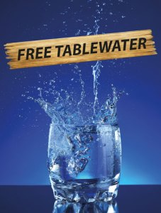 Free table water at Cajutan in Bangkok.