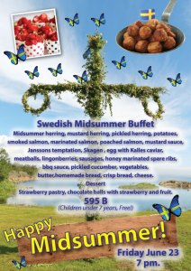 Swedish midsummer party with smörgåsbord at Cajutan in Bangkok