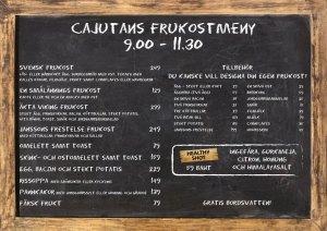 Svensk frukost, köttbullar, prinskorv, Janssons frestelse på Cajutan i Bangkok