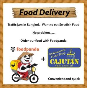 Svensk mat levereras från Cajutan med Foodpanda i Bangkok