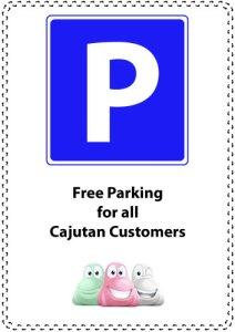 Gratis parkering för Cajutans gäster.
