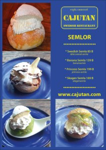 Swedish Semla, banana semla, Skagen semla, princess cake semla at Cajutan in Bangkok