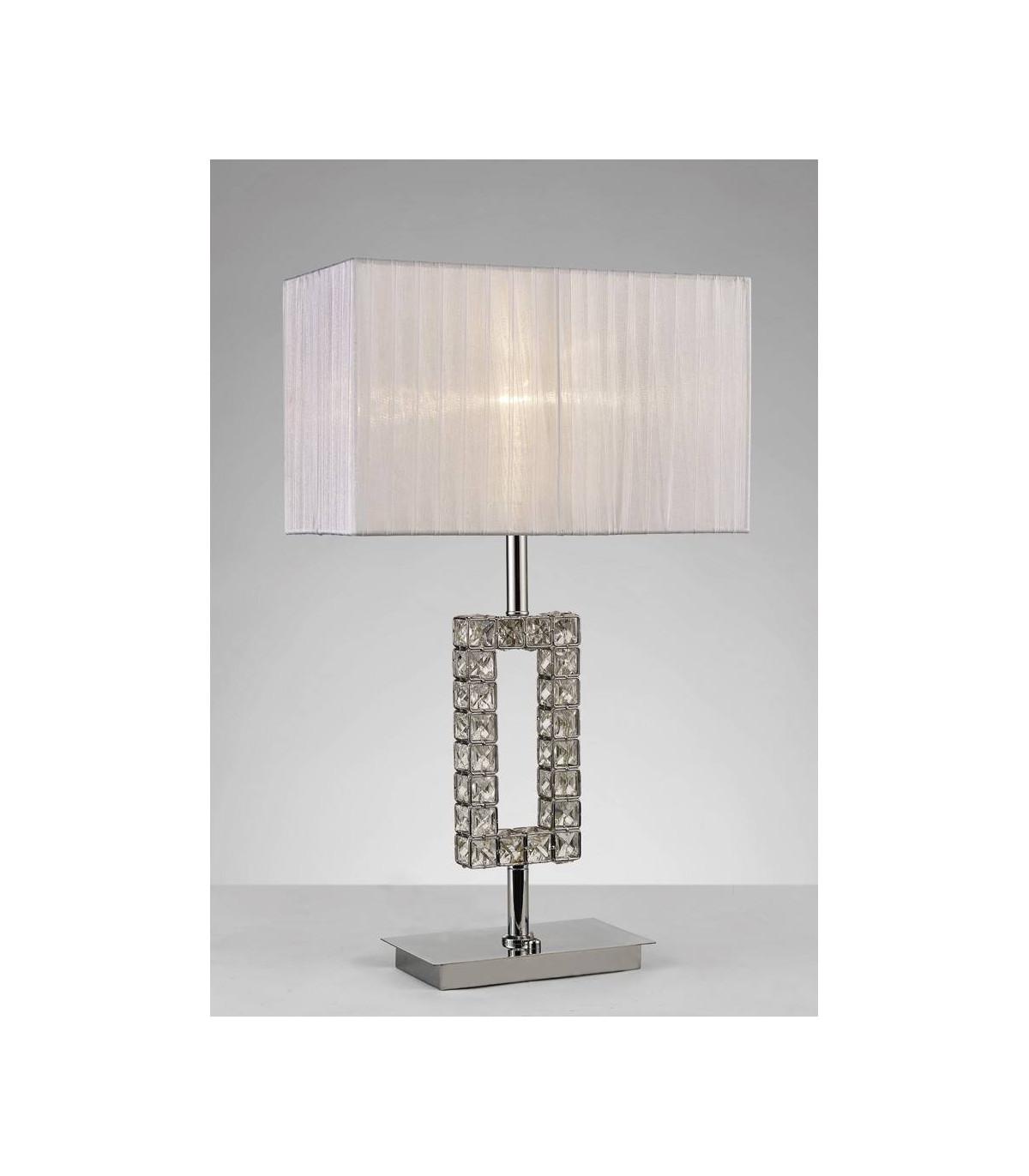 lampe de table florence rectangle avec abat jour blanc 1 ampoule chrome poli cristal