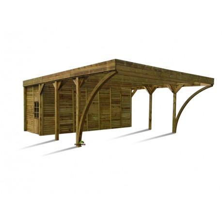 carport double 42 12m avec remise en bois autoclave marron aymar madeira
