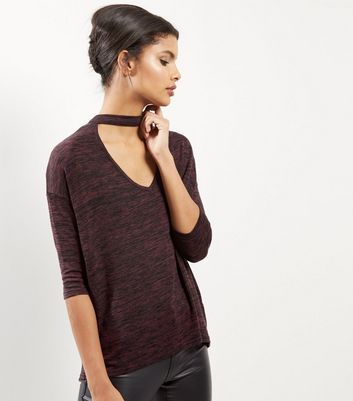 Burgundy Choker Neck 3/4 Sleeve Top