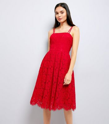 Red Premium Strappy Lace Dress