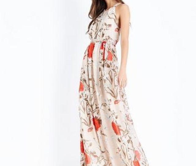 Mela Brown Floral Print High Neck Maxi Dress