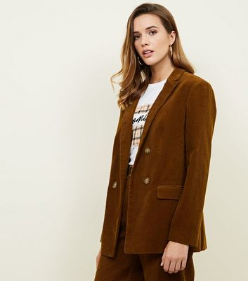 Rust Double Breasted Corduroy Blazer