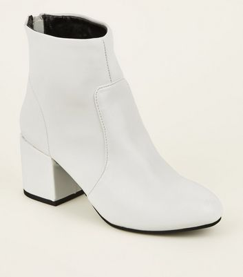White Block Heel Ankle Boots