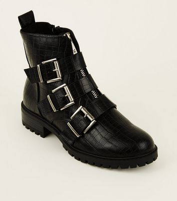 Black Snake Print Chunky Buckle Boots