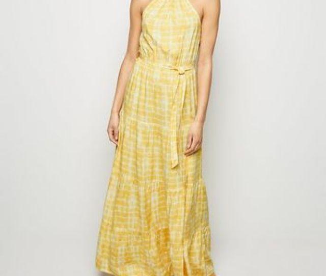 Yellow Tie Dye Halterneck Maxi Dress