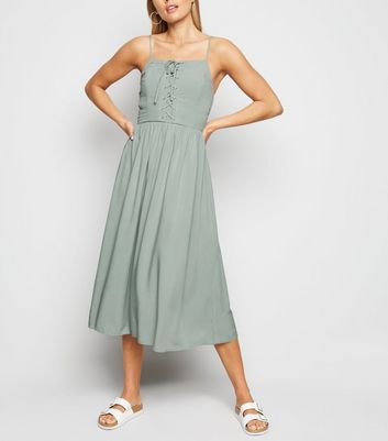 Mint Green Strappy Lace Up Midi Dress