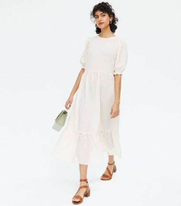 Off White Textured Tie Back Tiered Midi Dress New Look