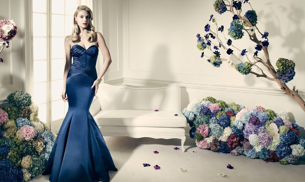 Truly Zac Posen Navy Long Strapless Fit And Flare Dress