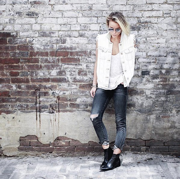 Edged Up With a Frayed Denim Vest and Pointed Boots