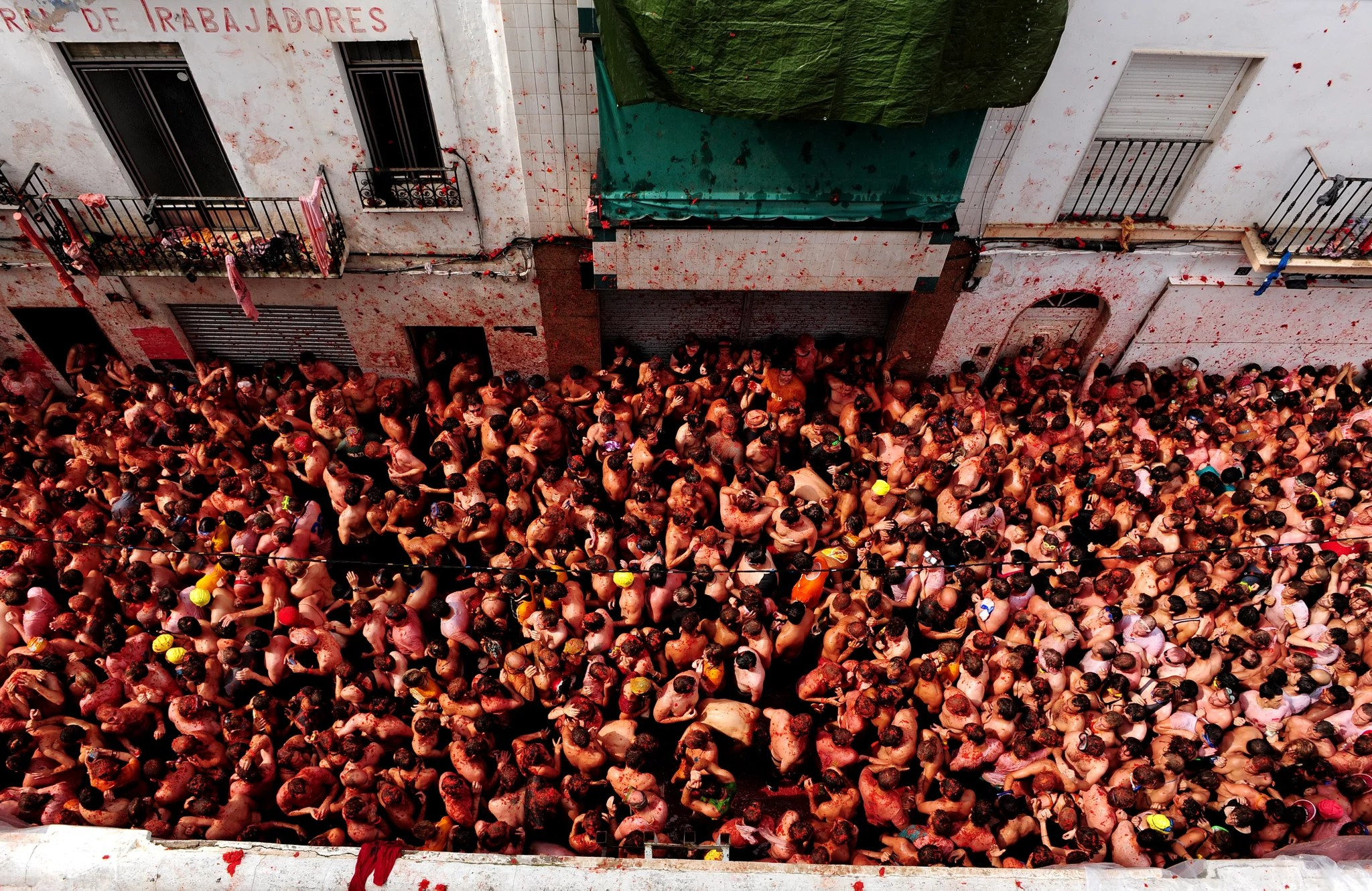 Annual La Tomatina Tomato Fight In Valencia Spain