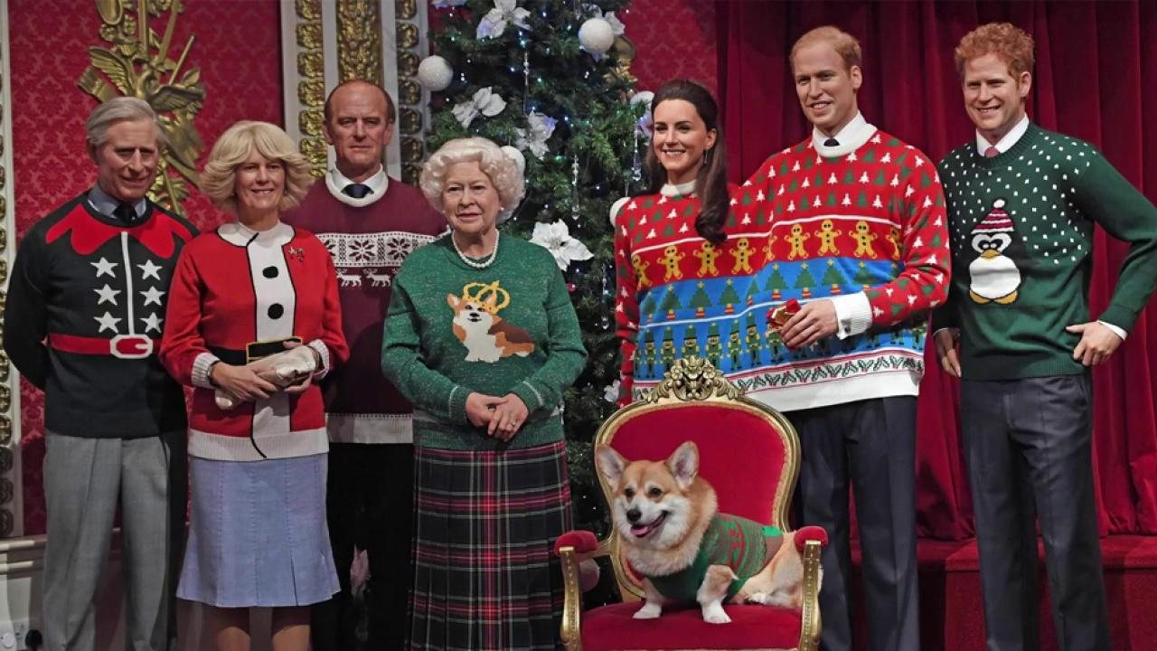 Royal Family Sports Ugly Christmas Sweaters In Madame