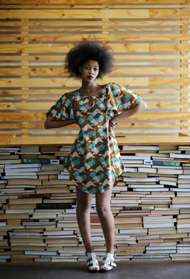 Image: South African model Lulama Mlambo poses while wearing clothes made by Kisua.com