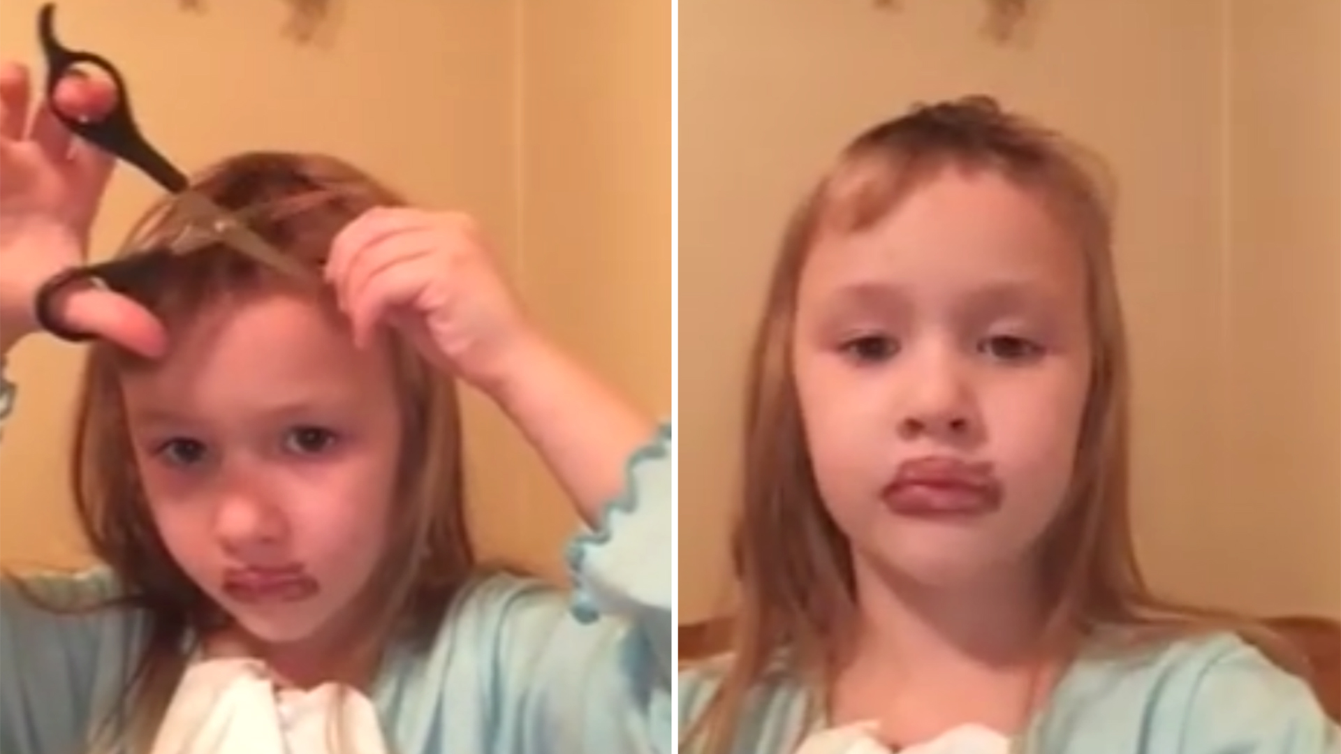 Little Girl Decides To Cut Herself Some Bangs And She