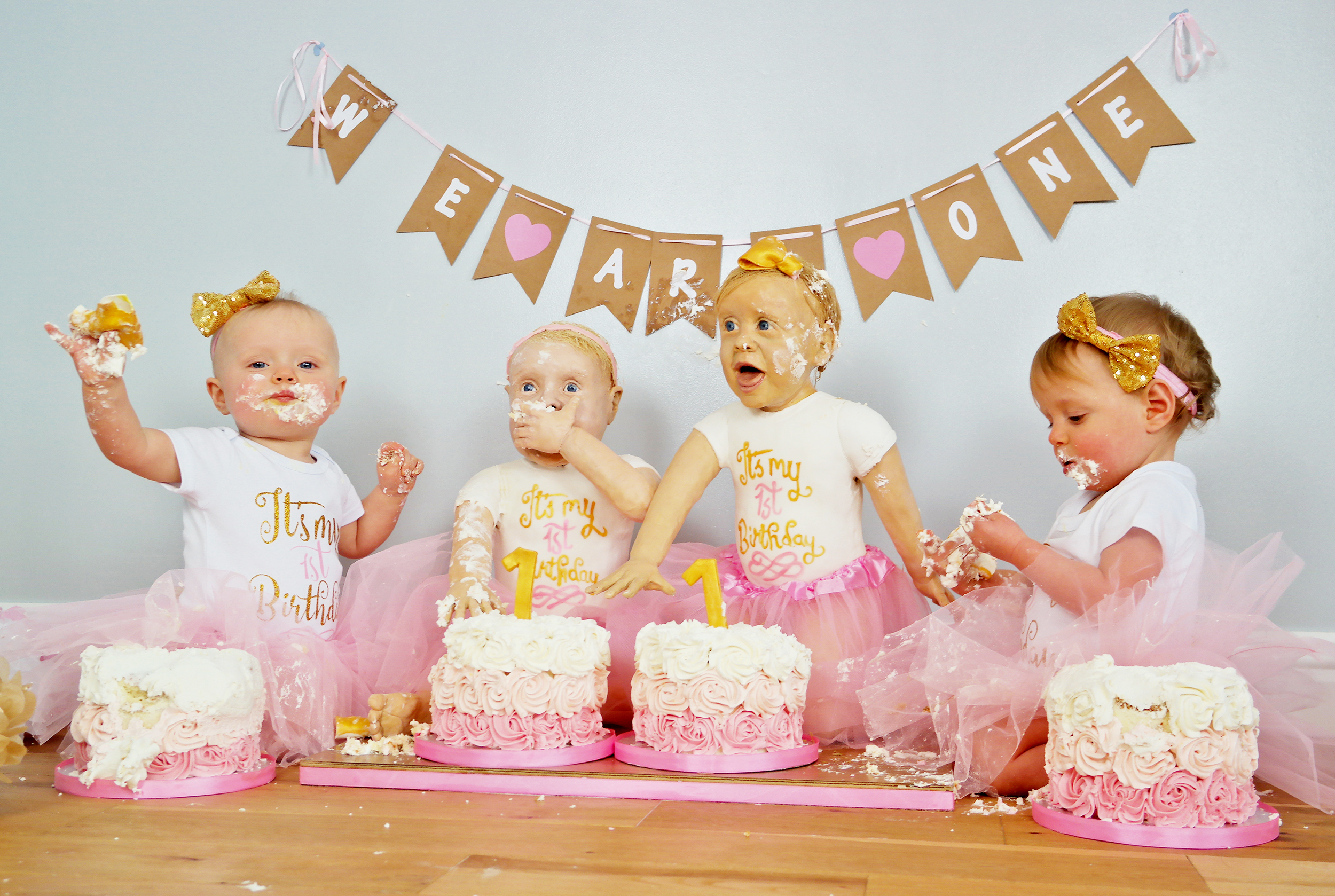 Twin Girls Look Exactly Like Their Life Size Birthday