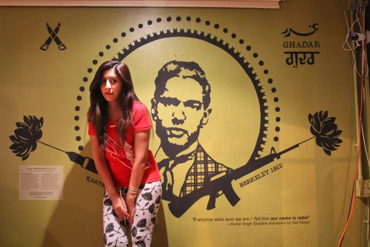 "Mural of Kartar Singh Sarabha entitled, ""Our Name is Rebel,"" by Nisha Sembi."