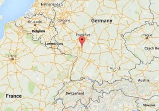 Image: A Google Map showing the location of Viernheim, Germany.