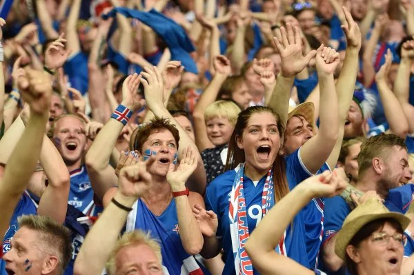 Image: Iceland supporters cheer a goal
