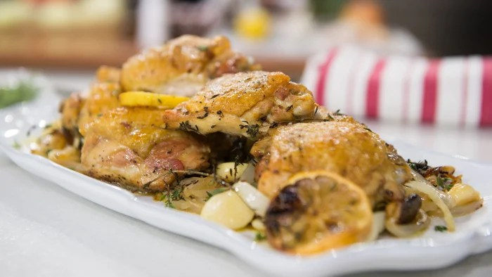 Nancy Silverton's Oven-roasted chicken and balsamic-glazed mushrooms