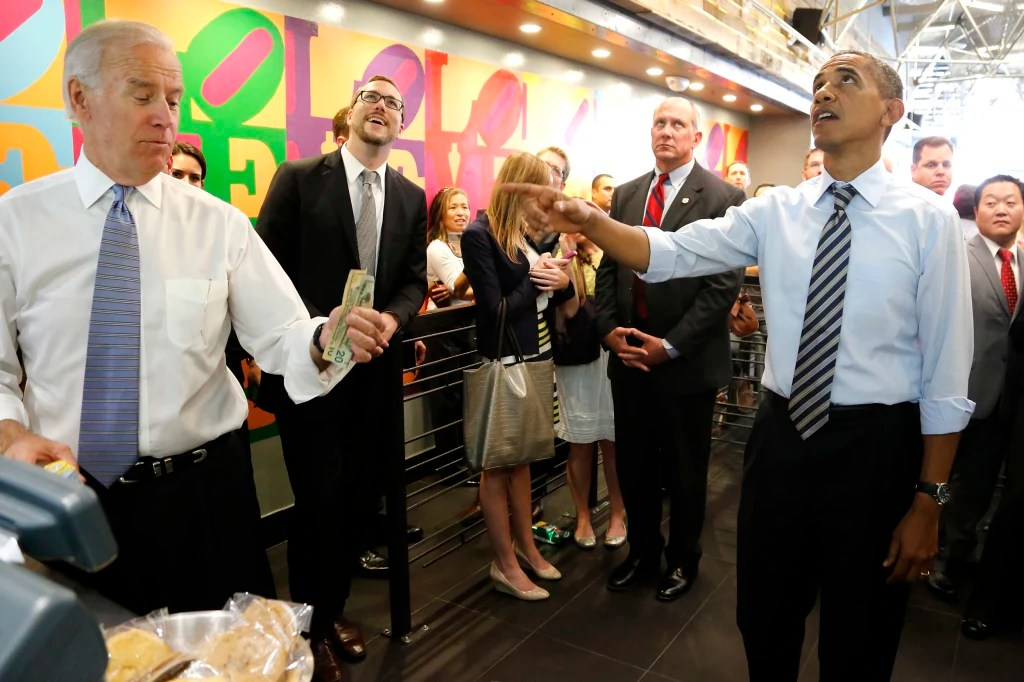 Barack insists he's paying for Joe's lunch. October, 2013.