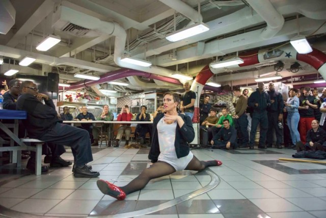 Yeoman 3rd Class Joshua J. Kelley, from Berwick, Pennsylvania, performs during the Morale, Welfare and Recreation (MWR) Lip Sync Battle