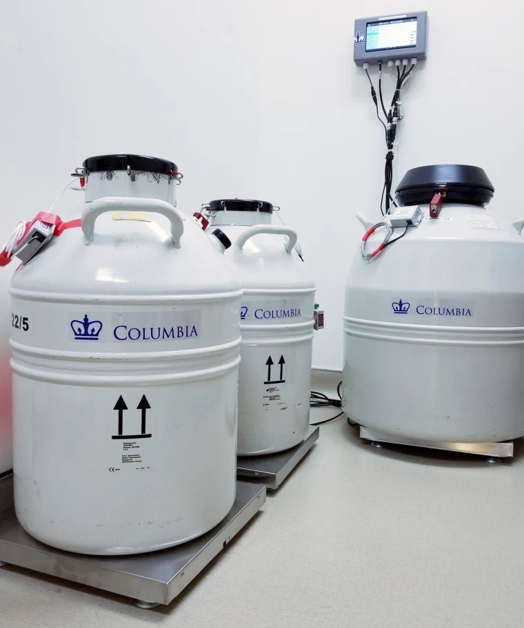 The fertility tanks on the new scale system that sets off an alarm if the weight is dropping, an indication that liquid nitrogen is seeping out.