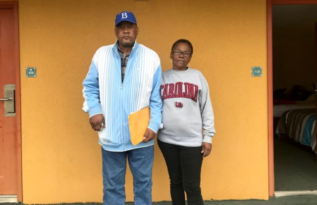 Billy Jeffers and his neighbor Mary Barnes at the hotel where they stayed after being forced to evacuate Allen Benedict Court.