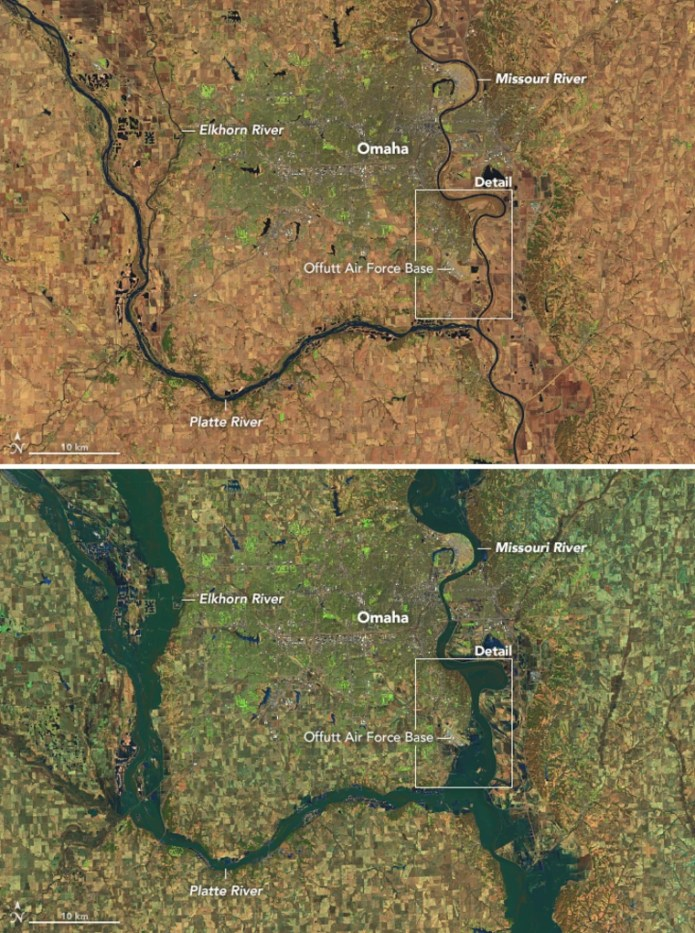 Nebraska has been particularly hard hit by historic floods in the wake of an intense winter storm. On March 16, 2019, the Operational Land Imager (OLI) on Landsat 8 captured a false-color image that underscores the extent of the flooding on the Platte, Missouri, and Elkhorn Rivers. For comparison, the first image is from March 20, 2018 and the second image shows the same area on March 16, 2019.