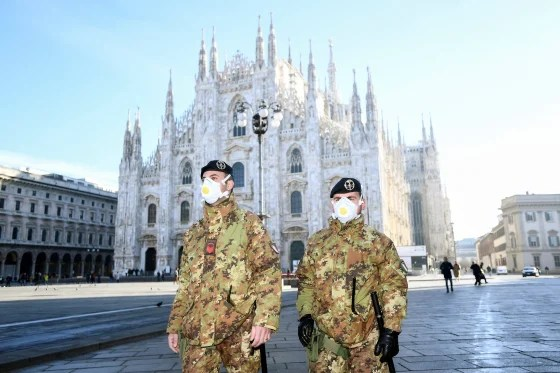 Soldiers enforcing quarantine during COVID-19 coronavirus outbreak in Italy.