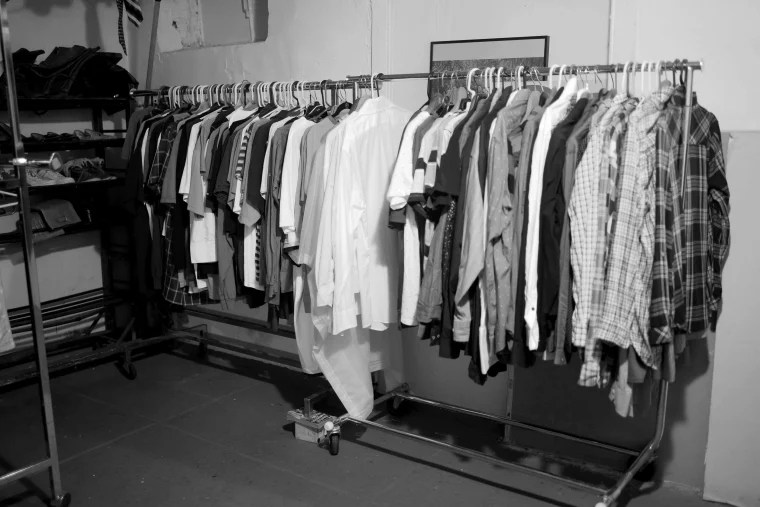 Image: Clothes at the RDJ Refugee Shelter thrift store.